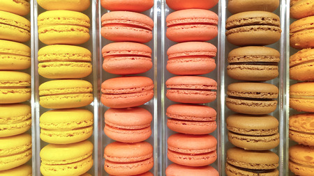 Arranged row of colorful macaroons