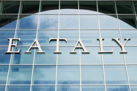 Entrance logo at the eataly mall in Rome (IT) Editorial