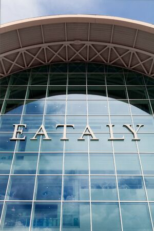 Wide angle shoot of the main entrance of eataly mall in Italy