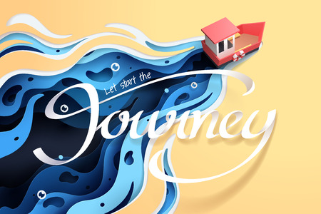 Paper art of red boat and the sea, origami and travel concept, vector art and illustration.