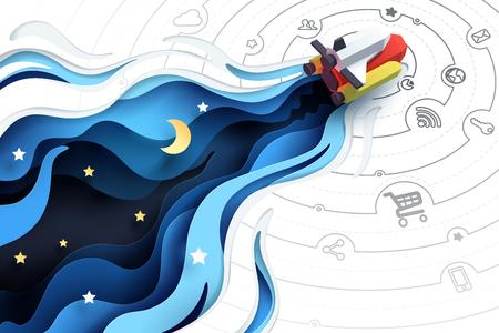 Papierkunst van ruimteschipvliegen om te verkennen, social media marketingconcept en opstarten van bedrijfsidee, vectorkunst en illustratie.