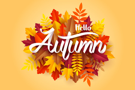 Paper art of Hello Autumn calligraphy lettering on fallen leaves, vector art and illustration. Ilustração