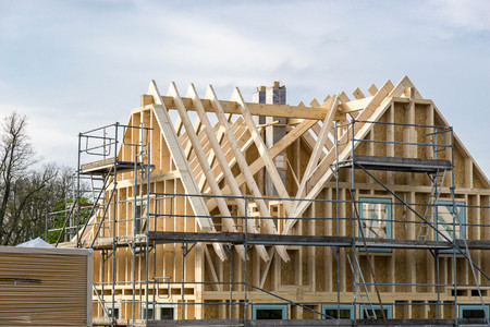 Wooden frame of a house - roof truss or framework Zdjęcie Seryjne