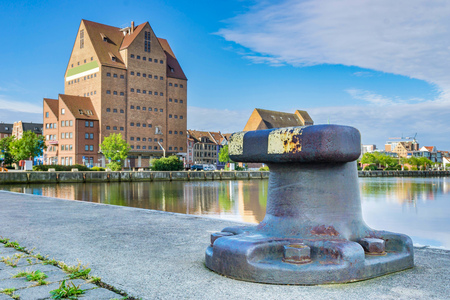 Rostock harbor - bollard at the quay wall