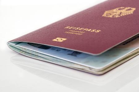 passport on a reflecting surface Zdjęcie Seryjne