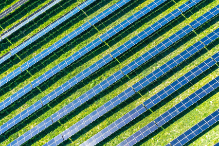 aerial view of solar panels - top view