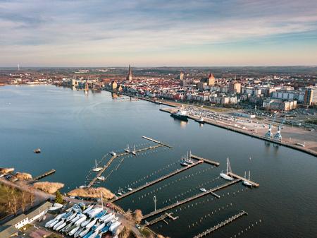 Aerial view of Rostock city harbor