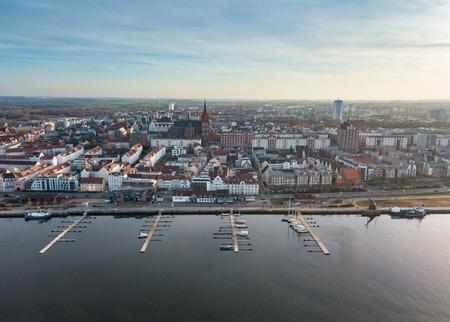 Aerial view of Rostock skyline and the city port Zdjęcie Seryjne