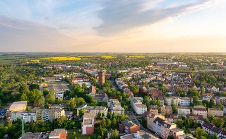 aerial view of the city of Rostock - evening sky Zdjęcie Seryjne