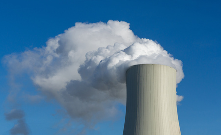coal power plant with cooling tower - steam or blue sky Zdjęcie Seryjne