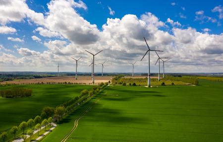 Aerial view of agricultural fields with wind turbines Zdjęcie Seryjne