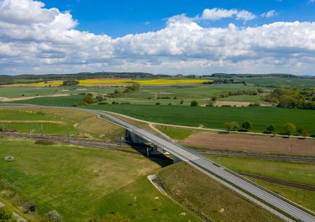 aerial image of agricultural fields and roads - railway track - springtime Zdjęcie Seryjne