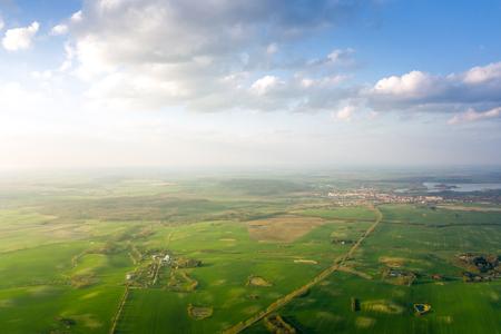 aerial view of landscape with sky and clouds - springtime Zdjęcie Seryjne