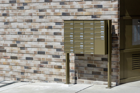 Entrance of a building - door and mailboxes