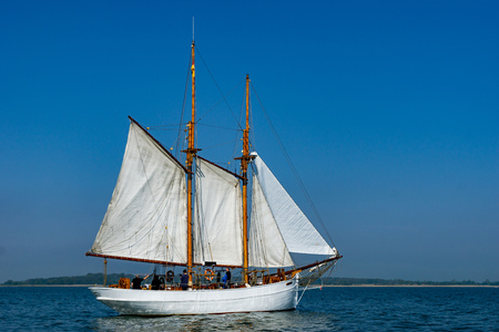 Sailing boat on the baltic sea - sunny day