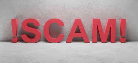 cgi render image of the word SCAM, concept image for fraud