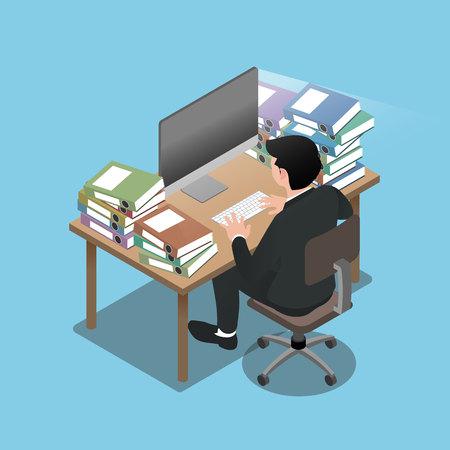 3d isometrico dell'uomo d'affari che si siedono e lavorano molto duramente, andando a esaurirsi e sentirsi come se si esaurisse le batterie. Illustrazione vettoriale di design piatto. Vettoriali