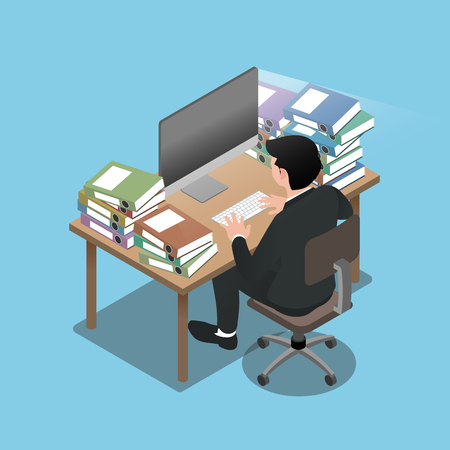 Isometric 3d of businessman who sit and work very hard, going to exhaust and feel like he will run out of batteries. Illustration flat vector design.