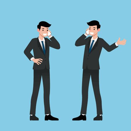 Businessman standing and make a call with his smart phone to communicate with the other for business and deal for work in his organization. Illustration