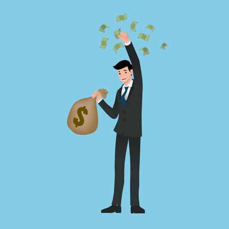 Rich businessman, stand and holding a money bag and bills. salary, income, profit. Successful in career business. Happy worker character isolated on light blue background. Vector illustration design.