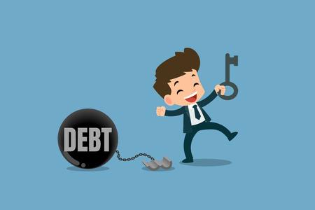 Blije zakenmensen gebruiken de sleutel om de ketting van de stalen metalen kogel te ontgrendelen om de schulden te bevrijden. Vector illustratie met financiële concepten.