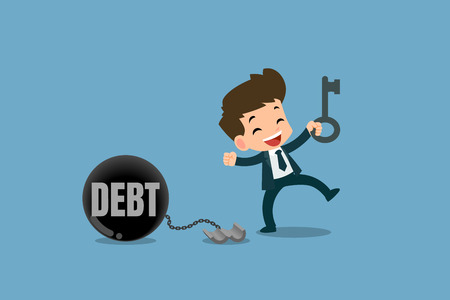 Felici uomini d'affari utilizzando la chiave per sbloccare la catena dalla sfera di metallo in acciaio per liberare il debito. Illustrazione vettoriale con concetti finanziari.
