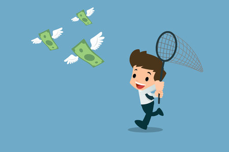 Happy businessmen use insect trapping nets to trying, running to catch a swarm of banknotes with wings who flying in the air. Vector illustration design.