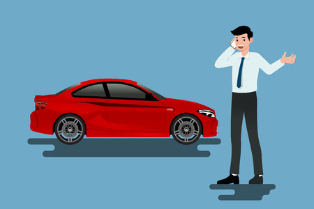 A calm businessman is calling to insurance company for help about his broken car parked on the roadside.Vector illustration design. Vettoriali