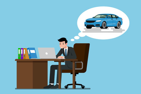 A businessman sitting and working seriously with his laptop. He thinking of the future that he want to have his own blue car, but he was tired with working so hard.