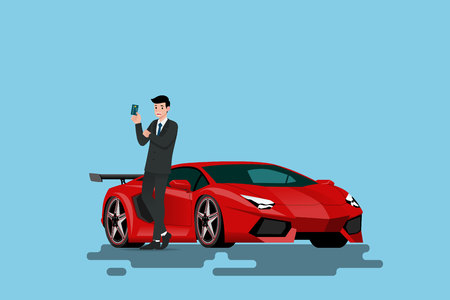 A happy businessman is leaning on his new super car and showing his credit card that he use to bought the vehicle. Vector illustration design.