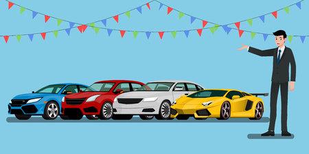 Ein glücklicher Geschäftsmann, Verkäufer steht und präsentiert seine Fahrzeuge und Superautos zum Verkauf oder zur Miete, die im Laden geparkt sind. Vektorgrafik
