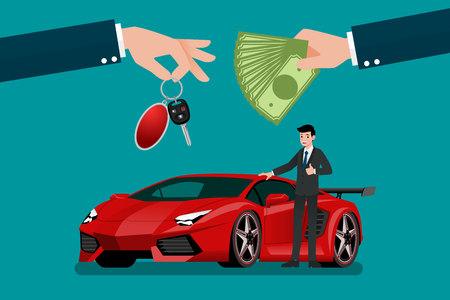 La mano del concessionario di auto fa uno scambio tra la super car di lusso esotica e il disegno di illustrazione vettoriale di denaro del cliente.