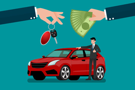 The car dealers hand make an exchange between the car and the customers money vector illustration design.