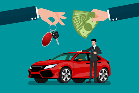 The car dealer's hand make an exchange between the car and the customer's money. Vector illustration design. Vettoriali