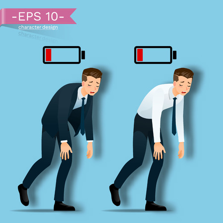 Businessman are walking, tired from working hard and look like he running out of energy by battery above his body.