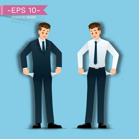 Businessmen who fail and have no money, standing and have stress. Vectores