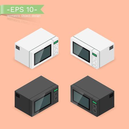 Isometrische, isolierte Mikrowelle auf weißem Hintergrund. Die Lebensmitteltemperaturregelungsmaschine für den Haushalt zum Kochen. Vektorgrafik
