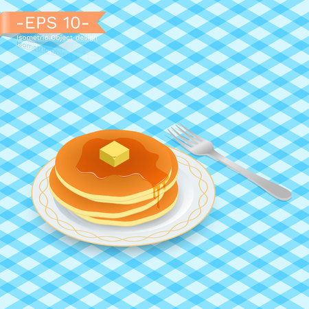 Delicious stack of hot pancakes with sweet honey, maple syrup. on a plate with fork.