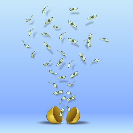 A lot of banknotes gushing out of a broken egg.