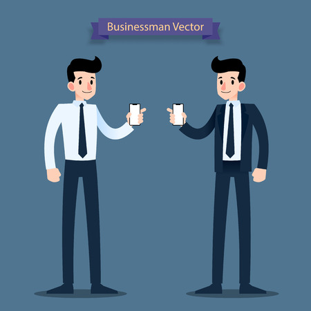 Businessman show blank screen mobile phone in his hand. Vector illustration flat design.