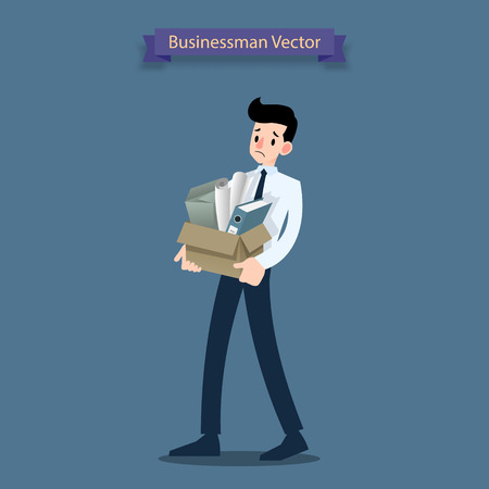 Disappointment businessman stand and carrying his cardboard box with personal stuff  belongings, leaving the office after being fired and become jobless. Unemployment and depression of people who lose his job.