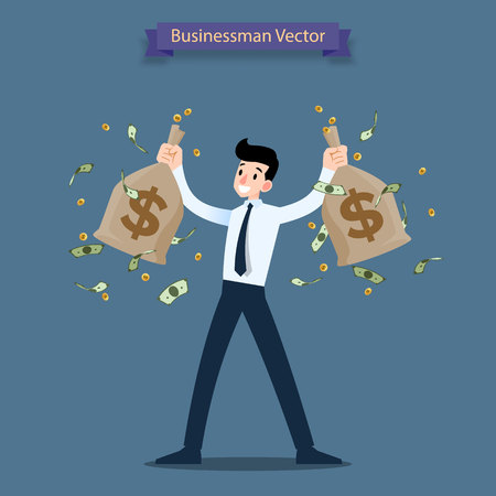 Happy businessman holding a money and gold coin bag, sack. Rich people who can make a lot of income, profit financial.