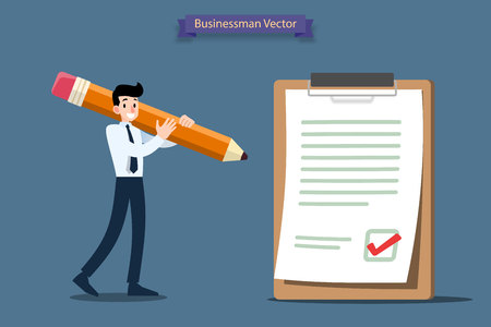 Businessman holding a large pencil and make good decision to checkmark on a big paper and paperboard.