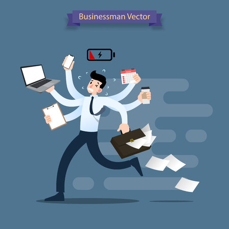 Businessman run with many hands holding smartphone, laptop, briefcase, stack of paper, calendar, clipboard and coffee. Very busy worker do many job in the same time.