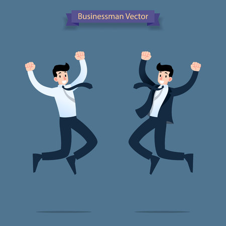 Happy, successful businessman jumping in to the air celebrating victory of his work. Illustration