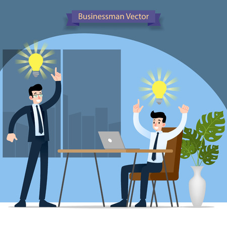 Businessman and his boss discussing and find solution and work successful in the office with symbolic bulb above their head.