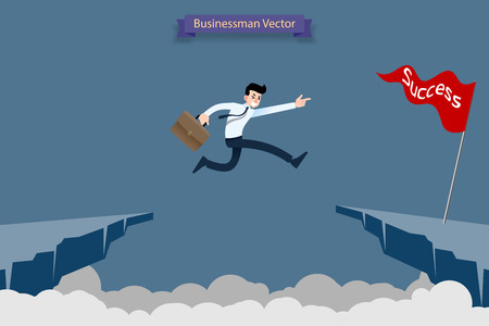Fearless brave businessman make risk by jump over the ravine, cliff, chasm to reach his success target challenge of his career.