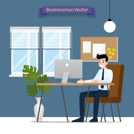 Happy businessman working on a personal computer, sitting on a brown leather chair behind the office desk. Vector Flat style Illustration. Illustration