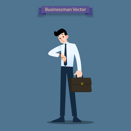 Businessman look at his watch to check the time and waiting for co-worker or his dealer about minute to hour. Illustration