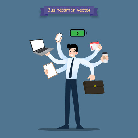 Happy businessman with many hands have multitasking and multi skill and productivity powerful workload concept. Illustration